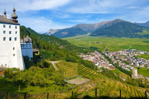 View of the Vinschgau mountain landscape from Marienberg Monastery