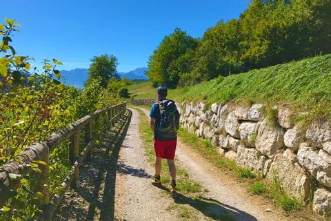 Hiker enjoys the panoramic hiking trails in South Tyrol