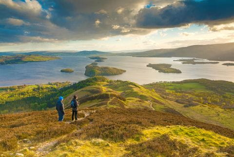 Hikers with panoramic view on Loch Lomond