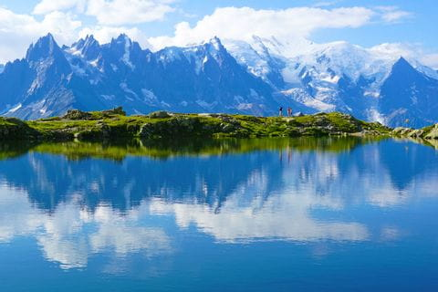 Mountain lake with view to Mont Blanc