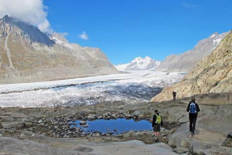Wanderer vor dem Aletschgletscher