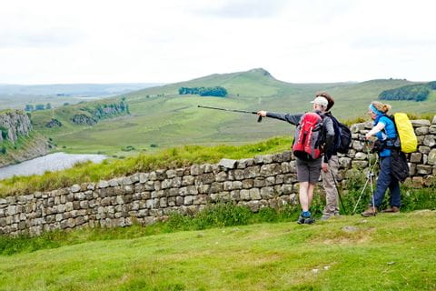 Hiking group on Hadrians Wall