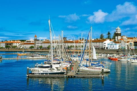 Colourful boats at the marina of Ponta Delgada