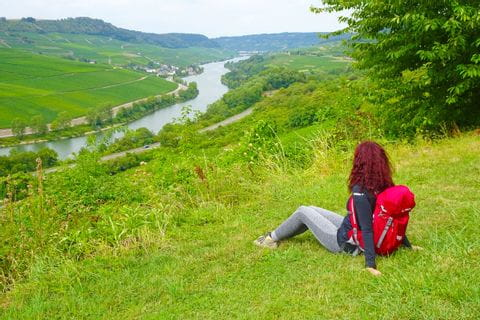 Hiker with panorama on the Moselle