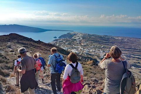 Beautiful coastal path in Santorini