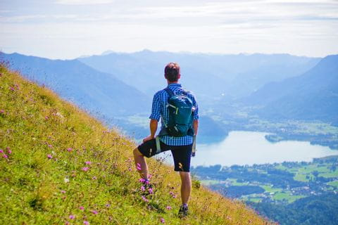 Hikers with a view of the Wolfgangsee