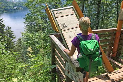 Hiker at the Soleleitungs-path towards Hallstatt