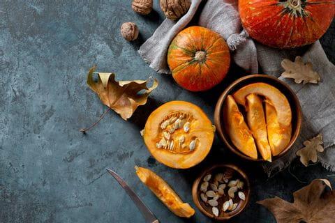 Cooking with hokkaido pumpkin in autumn
