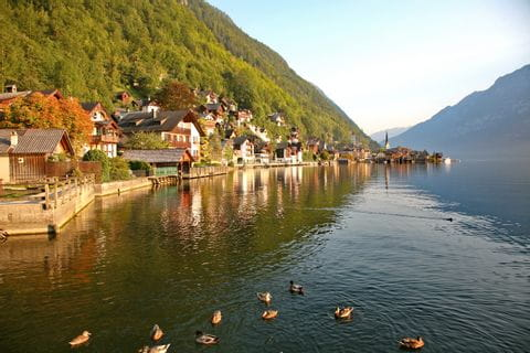 World heritage region Hallstättersee with view to the market