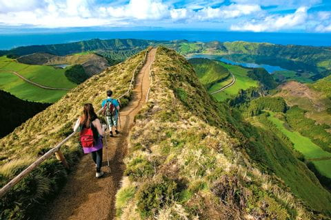 High altitude path Sete Cidades on Azores island