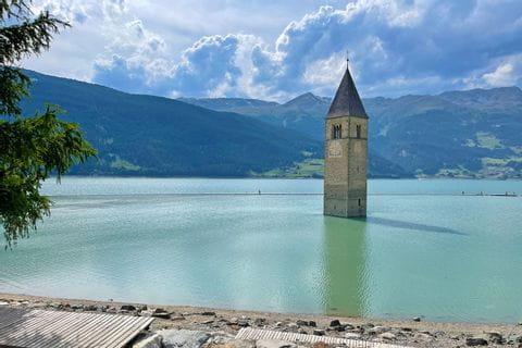 The sunken church tower in the Reschensee