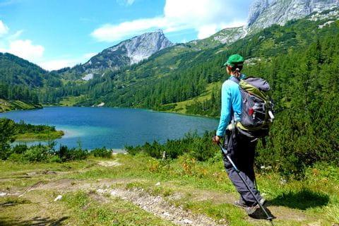 Along blue mountain lakes at Tauplitzalm high plateau