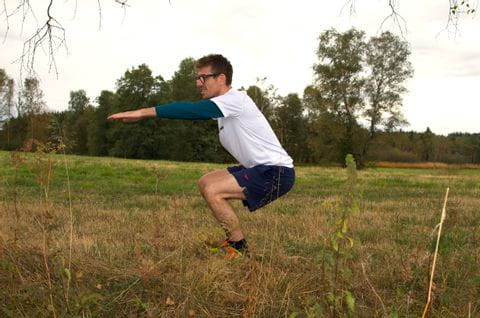 Forest workout exercise squat<br/>
