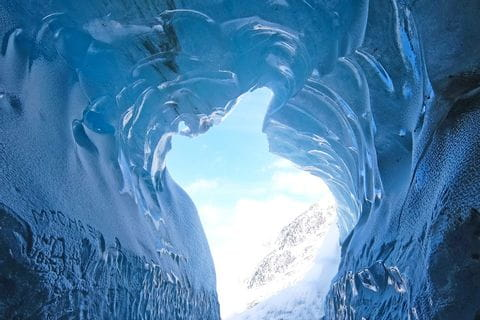 Ice grotto Mer de Glace glacier Mont Blanc