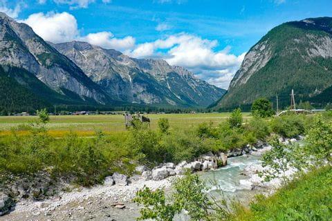 Beautiful mountain landscape along the Leutascher Ache
