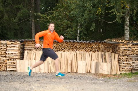 Forest workout exercise running and jumping<br/>