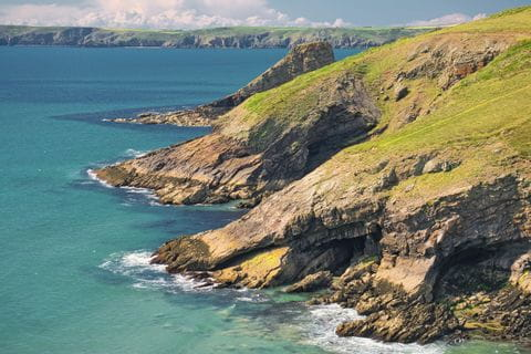Wide view of the coast of Pembrokeshires
