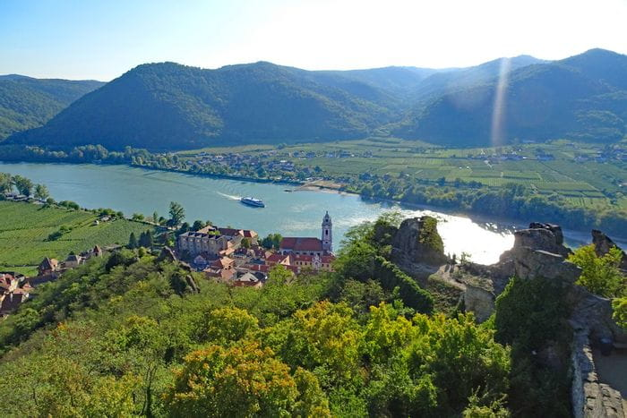 View of Dürnstein and Danube on the hiking trail